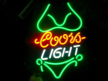 neon sign store display beer bar sign Real for COORS LIGHT GREEN BIKINI
