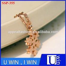 Women's stainless steel friendship rose gold pendant