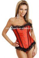 Drop shopping Manufature OEM sex girls photos open with garter belt full body red corsets for women