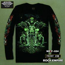 glow man long shirt biker long sleeve t-shirts 3d biker long tshirt skull biker long sleeve