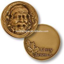 Novelty cheap custom coins Santa Claus Christmas gift