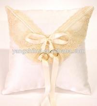 white wedding ring pillow,lovely,satin cushion