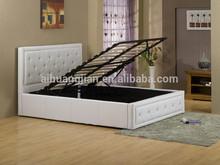 White GAS LIFT storage pu beds , cheap white pu storage beds, Cheap white colour pvc gas lift beds