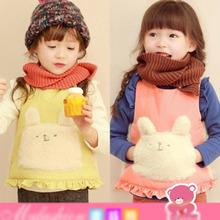 [TAL5032] korean high quality kids coat rabbit printed cute baby girls fur vest