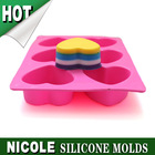 cheap 6 heart silicone soap mould