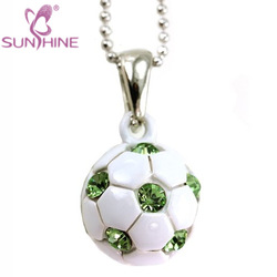 Light Green Soccer Foot Ball Sports Pendant Necklace Fashion Jewelry