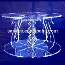 Camadas duplas transparente Swan Design acrílico carrinho do bolo pilares