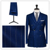 2014 Summer new Style formal occsaionTwo pieces Dark Blue Striped Tailor Made Suit For Man