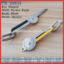 """(PK-66834) 3.5"""" Mini Folding Dound Key-Shaped Pocket Knife with Bottle Opener"""