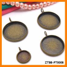 10-25MM Round cabochon bezel settings,Antique Bronze Blank Pendant Trays,Fit 10-25MM cabochon,Copper jewelry ZTBB-PT0008
