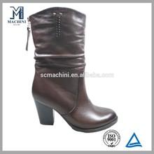 2014 high heel brown leather wool fur winter snow women boot