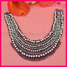 Wholesale Fashion Garment accessories pearl and rhinestone neckline WNL-1352