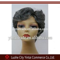 Alibaba express short synthetic hair grey kanekalon fashion wig wholesale, high temperature short grey wig