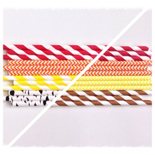 Yiwu factory wholesale Fall or Thanksgiving Themed Eco Friendly Paper Straws Red Orang Yellow Brown Birch Maple Stripes Chevron