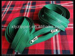 Custom made zipper, 2 sliders plastic zipper , 2 way open end plastic zipper