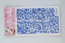 Vase Blue Rose DIY lace silver nail wraps/nail art