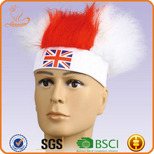 Factory wholesale lowest price synthetic hair headband sport wigs England team football fans wig