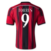 Highest Thai quality New AC Milan 2014/15 home TORRES football jersey soccer mesh