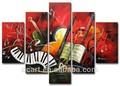 instrumento musical de pintura a óleo decorativa