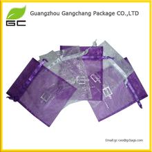 FOB in guangzhou custom organza packing bag with logo ribbon