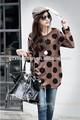 2015 primavera e outono nova moda café e polka ponto preto tops e t para grávidas mulheres manga longa estilo solto t- shirt
