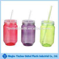 Food grade 28 OZ plastic mason jar with handle assorted colors