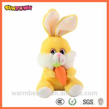 yellow plush rabbit toy with carrot custom stuffed toy rabbit wholesale