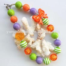 Wholesale purple&orange&green DIY chunky bead necklace little baby girls Halloween bubblegum orange bowknot jewelry accessory!!