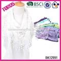 Alta calidad de la señora del mantón de moda SPRING-SEASON blanco bufanda del triángulo del cordón