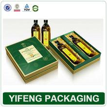 Luxury paper custom 2 bottles olive oil packaging box with satin insert