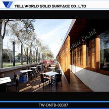 Modern design long glacier white cheap restaurant tables chairs