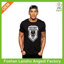 Mens fashion black t shirt with custom design soft cotton