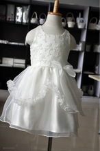 2014 Lovely satin Flower Girls wedding Dress Decoration with chiffon bowknot/first communion dress de/infant flower girl dresses