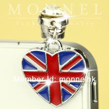 ip233-1 Monnel 2015 Custom Designed Alloy Blue Red British Flag Love Heart Cell Phone Headphone Anti Dust Plug Cover Charm