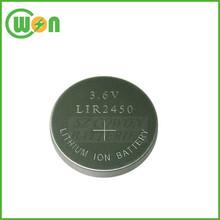 Agli ioni di litio a bottone 3.6v lir2450 batteria ricaricabile