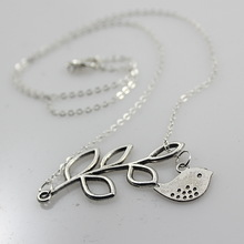 WLNL008 New design leaf and lucky bird pendant chain necklace