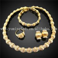 african stylish fake gold beads jewelry set gold plated jewel set