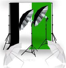 Photography Studio Shooting Umbrella Lighting Kit&3 Muslin Backdrop&Stand