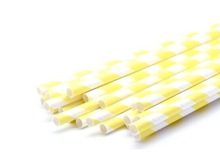 partysupplier Yiwu Wholesale Paper Straw Striped Yellow White Paper Drinking Straws White and Yellow oblique Stripes
