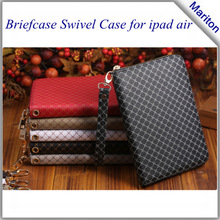 Hot selling hand bag swivel briefcase leather case for ipad 5