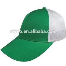 6 panel green white polyester front mesh back popular flexfit golf cap hat