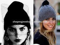 7 Colors Fashion Women Veil Dots Knitted Crochet Winter Warm Beanie Hat