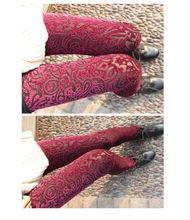 C83513A Pierced Heart carved gold velvet lace leggings/korean lady leggings