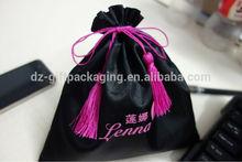 Black satin gift bag with tassel drawstring