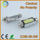 39mm cob 3w no polarity led car light
