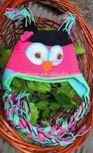 Fashion Lovely Handmade Braided Owl Winter Baby Children Acrylic Knit Hat