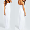 hot sale ladies autumn shirred bandeau maxi dress modern white dresses