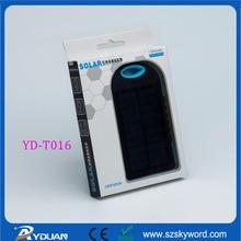 Original Waterproof Blue Solar Sun Charger Power Bank for iPhone 6 Plus Smart Mobile Phone 12000MAH YD-T016