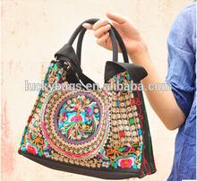 ethnic stlye embroidery handmade woman canvas handbag