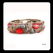 Crystal Filled Fake Gold Expandable Wire Bangle Bracelets